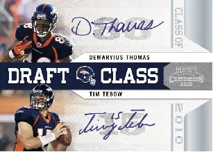 2010 Panini Contenders Demaryius Thomas Tim Tebow Draft Class Dual Autograph Card