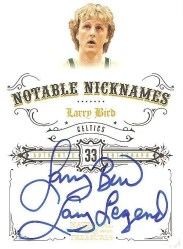 2009/10 Panini National Treasures Larry Bird Legend Nickname Autograph