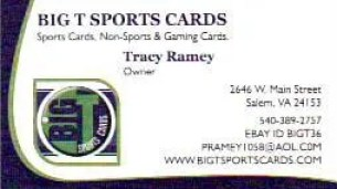 BigT Sports Cards Business Card