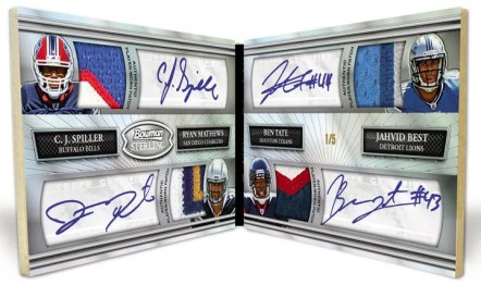 2010 Bowman Sterling Quad Autograph CJ Spiller, Ryan Matthews, Ben Tate, Jahvid Best Relic Auto Book Card