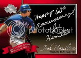 2011 Topps Series 1 60th Anniversary Autograph Josh Hamilton Inscription