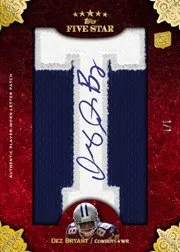 2010 Topps Five 5 Star Dez Bryant Autograph Letter Patch