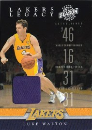09/10 Panini Season Update LA Lakers Legacy Luke Walton Jersey Card