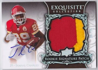 2008 UD Exquisite Jamaal Charles Patch Auto Rookie RC