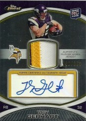 2010 Topps Finest Toby Gerhart Patch Auto RC