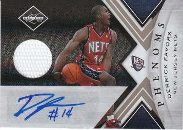 2010/11 Panini Limited Derrick Favors Autograph Phenoms Material RC Card