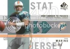 2001 Sp Authentic Stat King Dan Marino Jersey