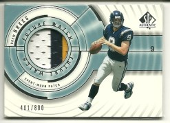 2001 Sp Authentic Drew Brees Patch Jersey Rookie RC