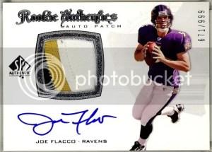 2008 UD SP Authentic Joe Flacco Rookie Authentics Patch Autograph Card