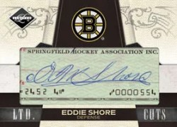 2010/11 Panini Limited Eddie Shore Cut Signature Autograph