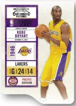 2010/11 Panini Contenders Patches Season Ticket Kobe Bryant Card