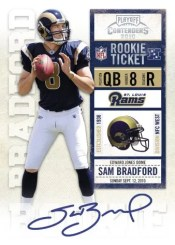 2010 Panini Contenders Sam Bradford Autograph RPS Ticket RC Card