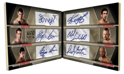 2010 Topps UFC Knockout Sick Sigs 6 Way Autograph Book Card