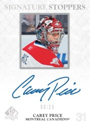 2011-12 Upper Deck SP Authentic Hockey Signature Stoppers Carey Price Autograph