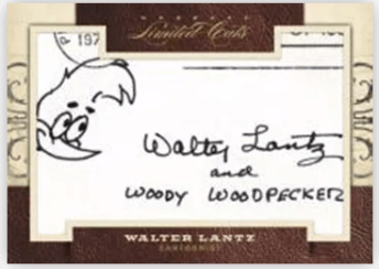 2011 Donruss Limited Cuts Walter Lantz Cut Autograph Card