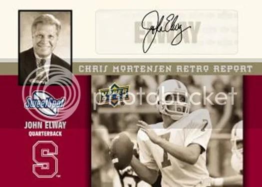 2011 Upper Deck Sweet Spot John Elway Retro Chris Mortensen Scouting Report Autograph Card