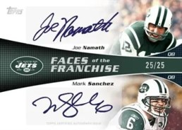 2011 Topps Football Joe Namath & Mark Sanchez Dual Autograph Faces of Franchise Card