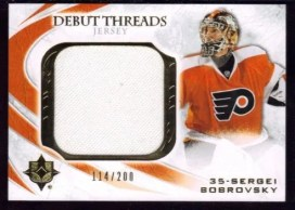 2010-11 Ultimate Collection Sergei Bobrovsky Debut Threads