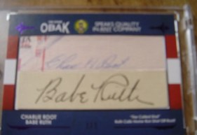 2011 TriStar Obak Dual Babe Ruth Charlie Root Autograph