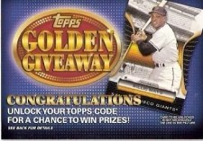 2012 Topps Golden Giveaway Code Cards