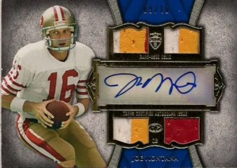 2011 Topps Supreme Autograph Quad Jersey Patch Card #SAQR-JM Joe Montana