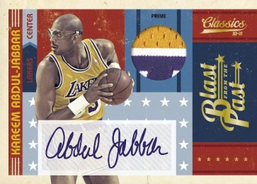 2010/11 Panini Classics Kareem Abdul-Jabbar Blast From The Past Autograph Patch Jersey Card