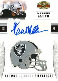 2011 Panini Gridiron Gear Marcus Allen NFL Pro Gridiron Signature Autograph Card