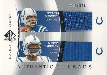 2003 Sp Authentic Threads Doubles Peyton Manning and Marvin Harrison Card