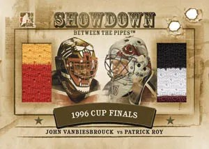 2010/11 ITG Between the pipes Showdown Jon Vanbiesbrouck Patrick Roy Dual Jersey Card