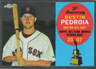 2008 Topps Chrome 50th Anniversary All-Rookie Team Dustin Pedroia Insert Card