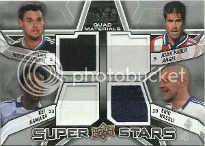 2012 Upper Deck MLS Quad Jersey #SS-FWD2 Chris Wondolowski - Kei Kamara - Juan Pablo Angel - Eric Hassli