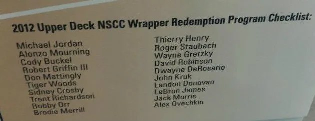 2012 Upper Deck National Wrapper Redemption Checklist
