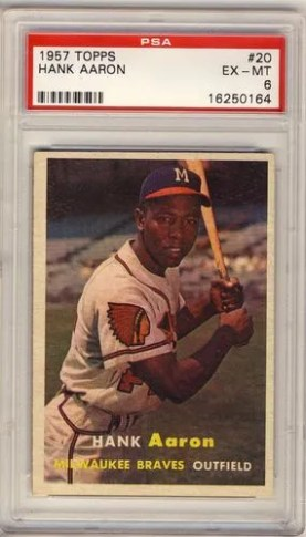1957 Topps Hank Aaron #20 Graded PSA 6
