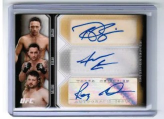 2012 Topps UFC Knockout Three of a Kind Autograph Card #TA-GEH Renzo Gracie - Frankie Edgar - Roy Nelson