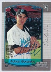 2012 Bowman Adrian Gonzalez Buyback Autograph /25