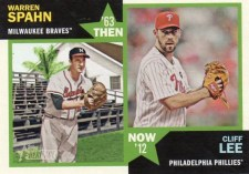 2012 Topps Heritage Then & Now Warren Spahn Cliff Lee
