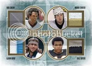 2012 Sportkings Series E Four Sport Quad Memorabilia Card