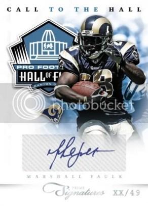 2011 Panini Prime Signatures Call To The Hall Marshall Faulk Autograph Card