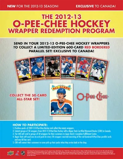 2012-13 O-Pee-Chee Hockey Wrapper Redemption