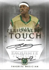 11/12 Upper Deck Exquisite LeBron James Personal Touch Autograph Favorite Musician Jay-Z