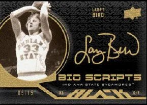 2011-12 Upper Deck Exquisite Bio-Scripts Larry Bird Autograph Card