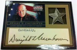 2012 Panini Americana Heroes and Legends Dwight D. Eisenhower Cut Autograph General Star