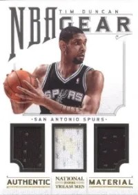 12/13 National Treasures NBA Gear Tim Duncan Trios #/99