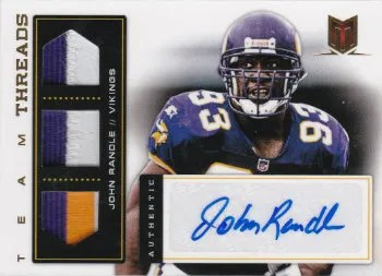 2012 Panini Momentum Football John Randle Team Threads Prime Autograph Patch #2/5