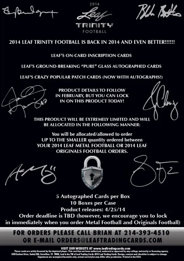 2014 Leaf Trinity Football Sell Sheet