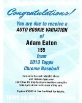 2013 Topps Chrome Autograph Redemption