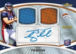 2010 Topps Finest Football Tim Tebow Dual Relic Auto