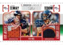 2010 Topps John Elway Tim Tebow Jersey Card