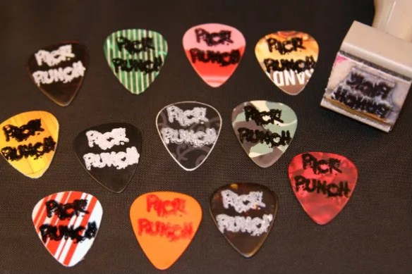 custom,stamped,picks,guitar,make your own,pickpunch,pick,custom printed