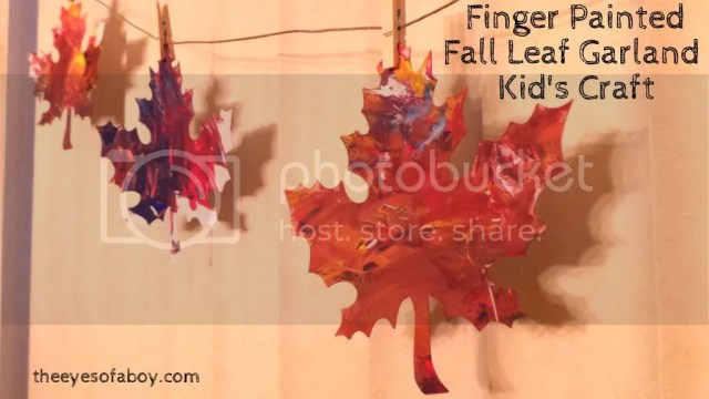 Fall leaf craft - Kid-made, finger painted leaf garland / bunting decor